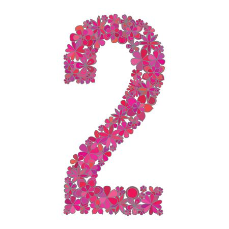 number two made of colorful flowers on white background. Illustration