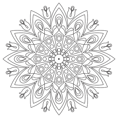 ethnics: Vector decorative element mandala in black and white. Illustration