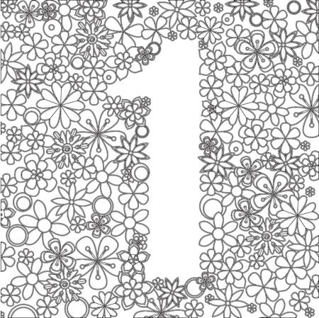 Vector De Número Tres Hechos De Flores Blancas Y Negras. Para Libros ...