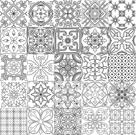 big set of tiles background in black and white for coloring