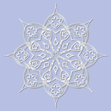 Decorative element mandala, snowflake, paper lace doily, snowflake, laser cut round ornament.