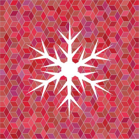 Isolated white snowflake on colorful abstract background.