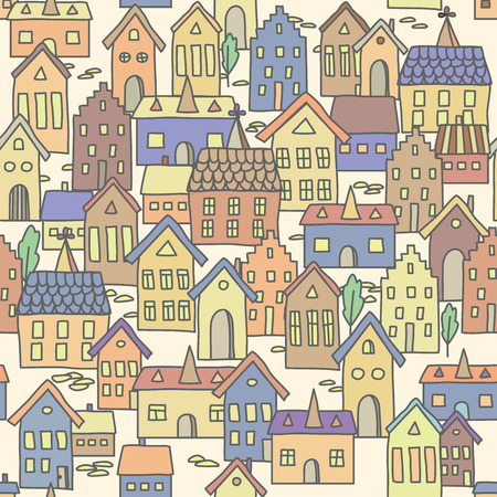 pale colors: Vector seamless pattern background with european houses in pale colors. For wallpaper, decoration for your design, textile and more. Illustration