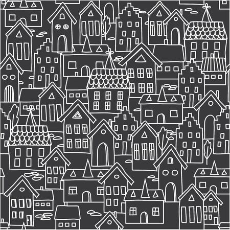 draw hands: Seamless pattern background with european houses in black and white. For wallpaper, decoration for your design, textile and more.