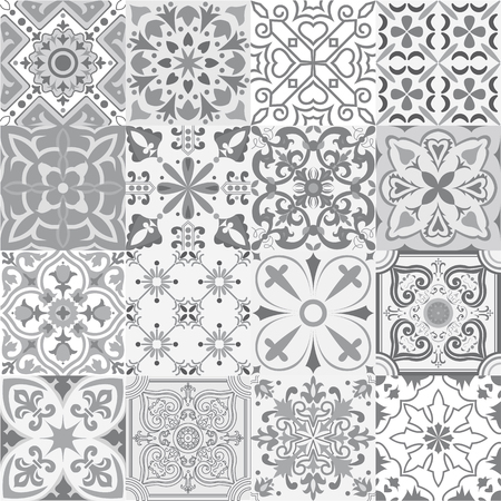 Big vector set of tiles background in grey. For wallpaper, backgrounds, decoration for your design, ceramic, page fill and more.  イラスト・ベクター素材