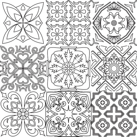 white tile: Big vector set of black and white tiles background. For coloring pages, backgrounds, decoration for your design, page fill and more. Illustration