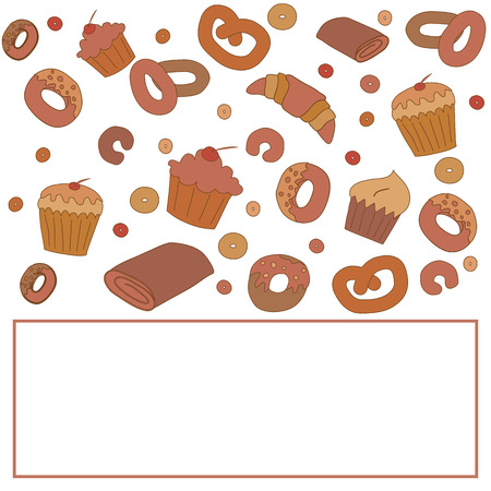 Vector bakery card template with space for text. Illustration