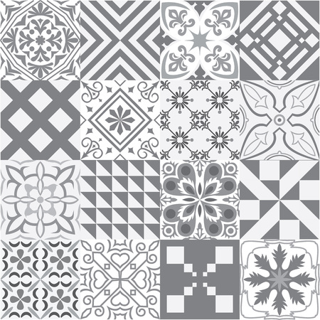 fill fill in: Big vector set of tiles background in grey. For wallpaper, backgrounds, decoration for your design, ceramic, page fill and more. Illustration