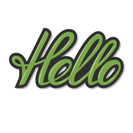 Vector handwritten calligraphic word Hello.