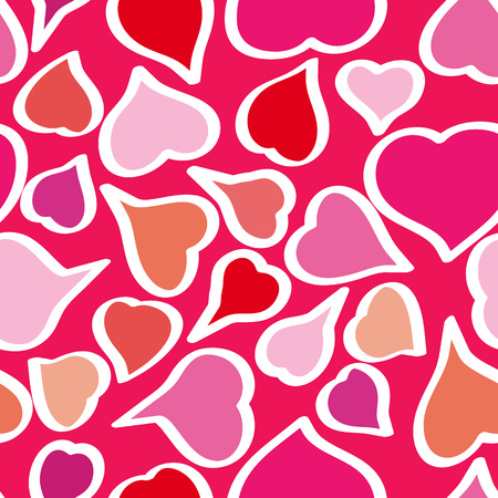 Vector seamless pattern background with hand drawn bright whimsical hearts. Happy Valentines Day. Happy Birthday. Happy Womens Day.