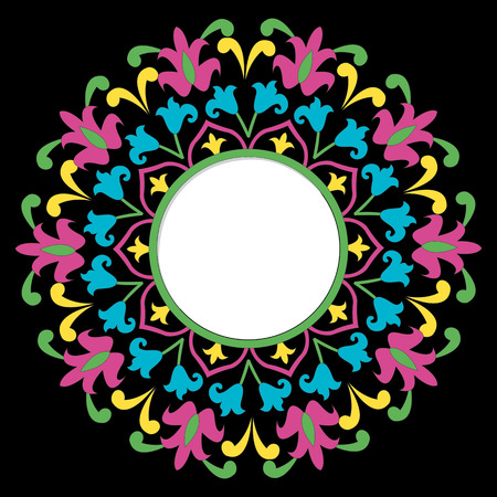 Vector frame with space for text on colorful mandala background.