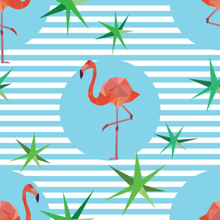 beak: Vector seamless pattern background with pink polygonal flamingos on striped background.