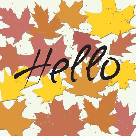 hi back: Vector card template with colorful autumn leaves and text.