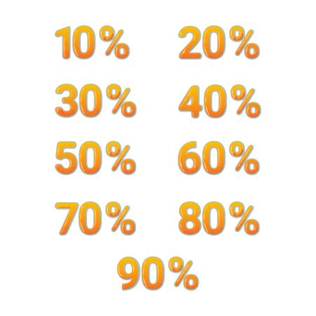 mathematics: Vector set of golden shiny isolated tags with number and percent on white background.