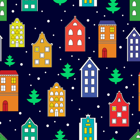 new years: Vector seamless pattern background with european houses and christmas trees. Illustration