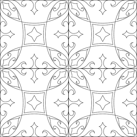patchwork: Seamless tiles background in black and white.