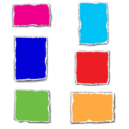 Set of bright colorful templates with torn paper edges. Space for text. Raster version.