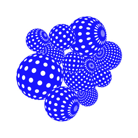 textile industry: A Vector abstract 3d effect background. Bright colorful dotted spheres.