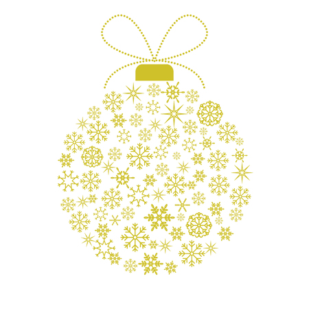 paper textures: Vector christmas card template. Glittering background illustration. Decorative  ball with golden snowflakes.  Illustration