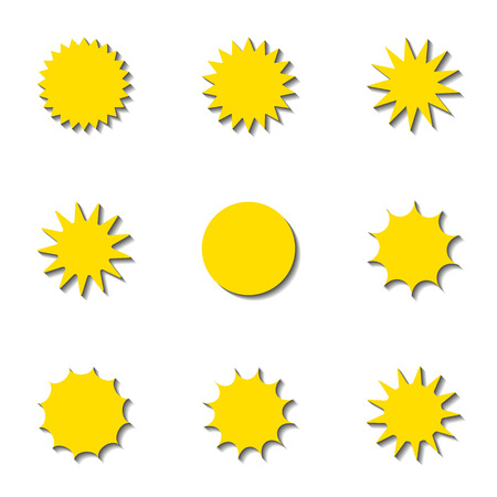 Vector set of isolated labels with starry edges. Space for text.