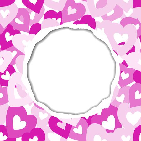 Vector card with torn paper edges. Background with colorful hearts. Illustration