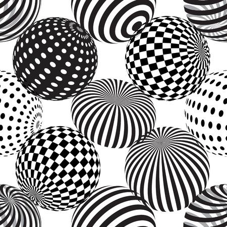 点線の縞模様の球を持つベクトルシームレスな抽象的な背景。3D効果。錯視。