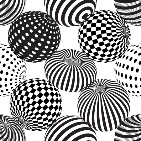 Vector seamless abstract background with dotted, striped spheres. 3d effect. Optical illusion.
