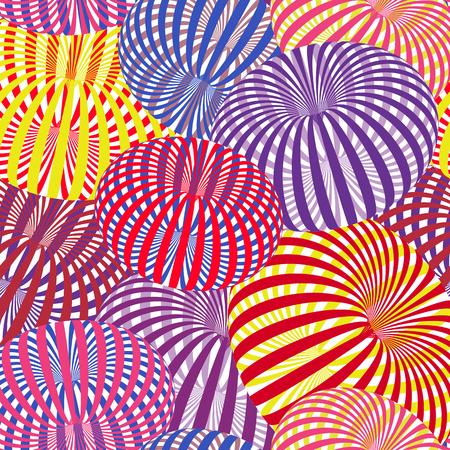 カラフルな縞模様のトーラス、錯視を持つ抽象的なベクトルパターン。