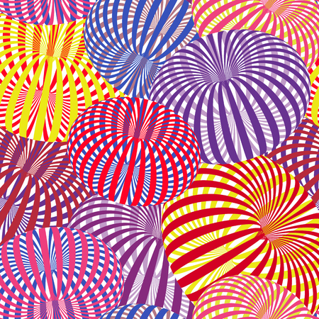 Abstract vector pattern with colorful striped torus, optical illusion.