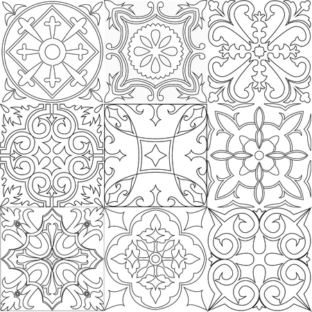 Vector set of tiles background in black and white. For wallpaper, backgrounds, decoration for your design, ceramic, page fill and more. Illustration