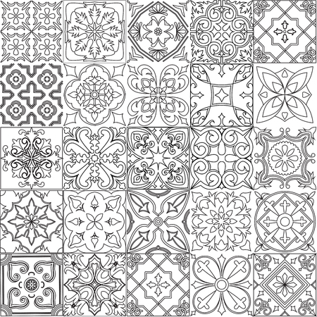 A Vector set of tiles background in black and white. For wallpaper, backgrounds, decoration for your design, ceramic, page fill and more.
