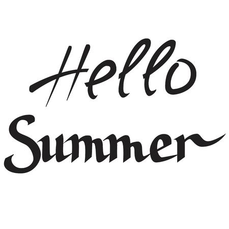 Hand written calligraphic words, hello summer.