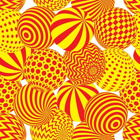 A Seamless abstract 3d effect background. Bright spheres with different patterns. Illustration