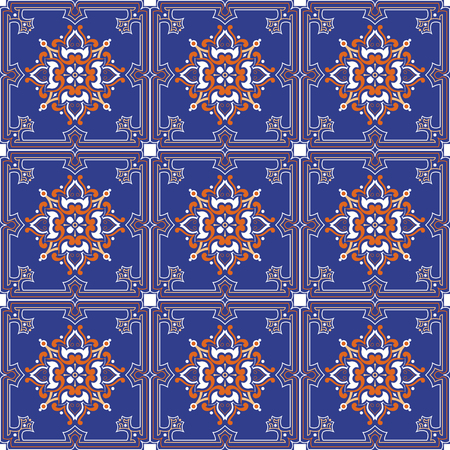 Vector seamless tiles background in portuguese style. For wallpaper, backgrounds, decoration for your design, ceramic, page fill and more.