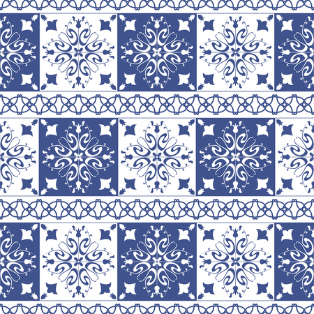 Vector seamless tiles background in portuguese style. Blue and white mosaic border. Tiles for ceramic in dutch, portuguese, spanish, italian style.
