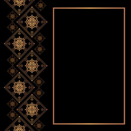 Vector luxury card template. Golden frame with space for text. Illustration
