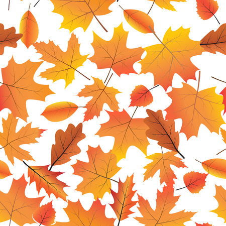 Vector seamless background with bright autumn leaves.