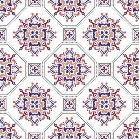 Vector seamless tiles background in portuguese, spanish, italian style. For wallpaper, backgrounds, decoration for your design, ceramic, page fill and more. Illusztráció