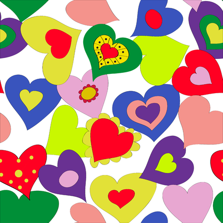 Vector seamless background with bright hearts.