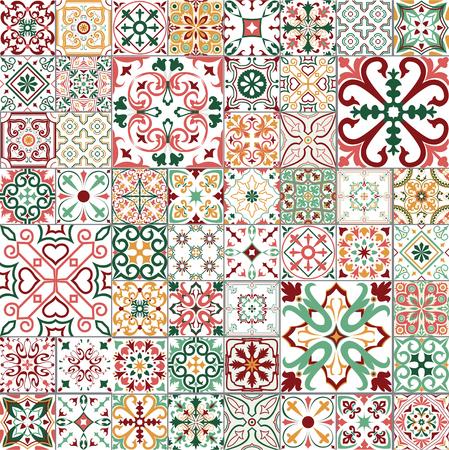 Conjunto de vector grande de azulejos en estilo portugués, español, italiano. Para papel tapiz, fondos, decoración para su diseño, cerámica, relleno de página y más.