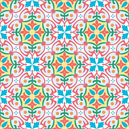 Vector naadloze tegels achtergrond in Portugese, Spaanse, Italiaanse stijl. Voor behang, achtergronden, decoratie voor uw ontwerp, keramiek, paginavulling en meer.