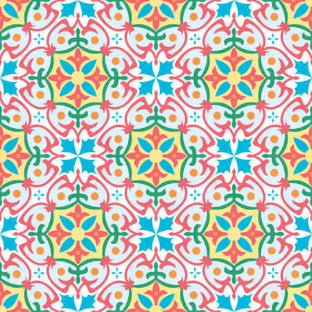 Vector seamless tiles background in portuguese, spanish, italian style. For wallpaper, backgrounds, decoration for your design, ceramic, page fill and more. Çizim
