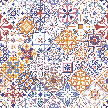 Bezszwowe tło wektor płytki w stylu portugalskim, hiszpańskim, włoskim. Do tapet, tła, dekoracji do projektu, ceramiki, wypełnienia strony i nie tylko. Ilustracje wektorowe