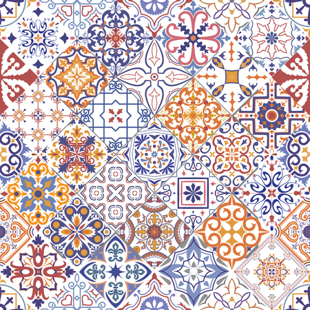Vector seamless tiles background in portuguese, spanish, italian style. For wallpaper, backgrounds, decoration for your design, ceramic, page fill and more. Vektorové ilustrace