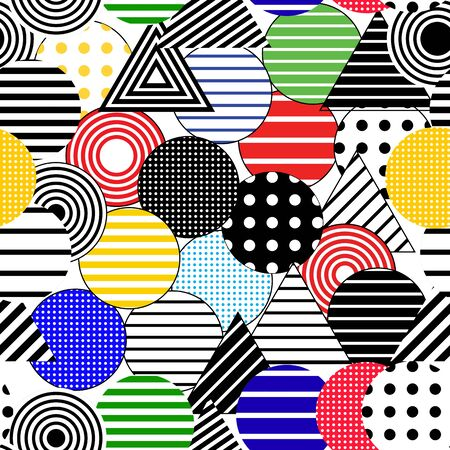 Vector seamless abstract background. Dotted and striped circles and triangles.