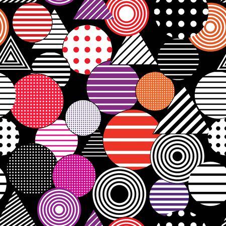 Vektor nahtlose abstrakten Hintergrund. Gepunktete und gestreifte Kreise und Dreiecke.