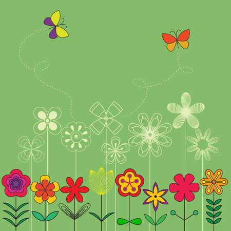 Vector card template with flowers, butterfly and space for text.