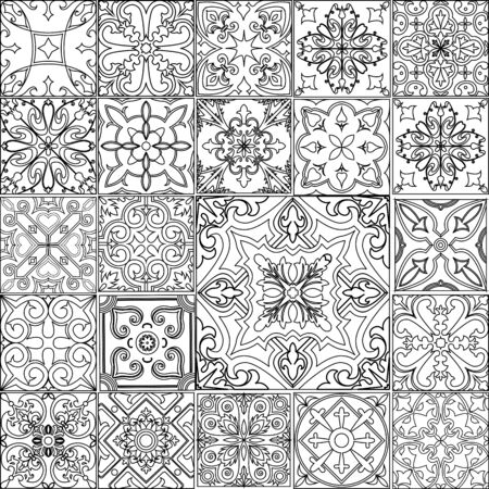 Big vector set of black and white tiles in portuguese style. Stockfoto - 129268025