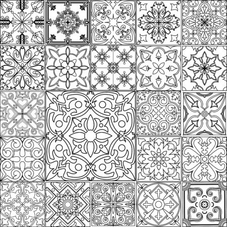 Big vector set of black and white tiles in portuguese style.