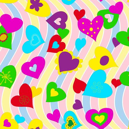 Vector seamless background with bright hearts. Vecteurs